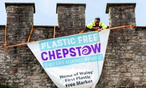 Chepstow celebrates plastic-free status with plastic banner